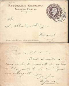 J) 1903 MEXICO, 1 CENT BROWN, MEXICAN REPUBLIC, POSTCARD, POSTAL STATIONARY, CIR