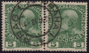 Austria - 1908 - Scott #113 - used pair - PRAHA 1 pmk