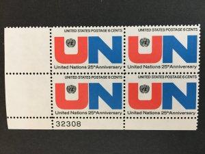 Scott # 1419 United Nations, MNH Plate Block of 4