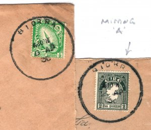 IRELAND Eire Cover *BIORRA* RUBBER CDS Matched Pair {2} MISSING *A* 1936 IR56