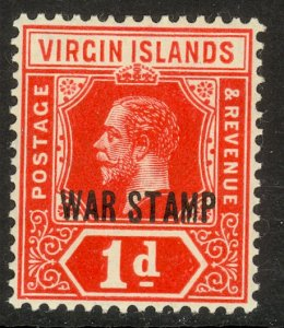 BRITISH VIRGIN ISLANDS 1916-17 KGV 1d WAR TAX Stamp Scott No. MR1 MLH