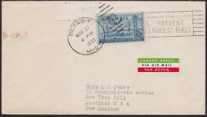 USA 1950 25c rate airmail cover Detroit to New Zealand......................5075