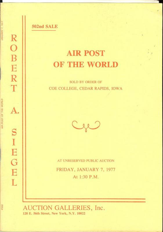 Air Post of the World, sold by the order of Coe College, ...