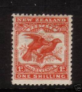 NEW ZEALAND 1907 1/- KAKA  MLH SG381  P14X13 1/2