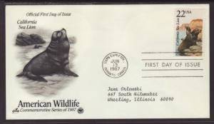 US Sea Lion 1987 PCS Typed FDC BIN