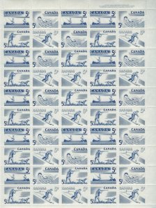 CANADA - #365-#368 - 5c RECREATION SPORTS UR PLATE #1 FULL SHEET (1957) MNH