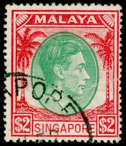 SINGAPORE SG29, $2 green & scarlet, FINE USED.