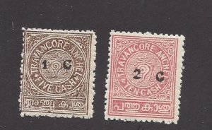India (Travancore), 29-30, Conch Shell (State Seal) Surcharge Singles,**Hinged**