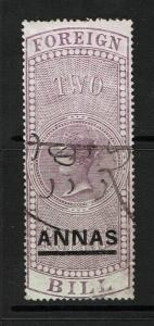 India 1861 2 Annas Foreign Bill Used (BF#20) / Lt Creases / Bottom Scuff - S1193