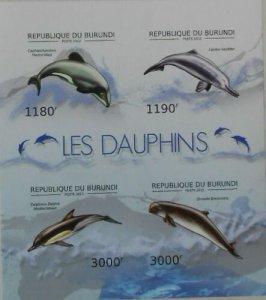 Burundi MNH S/S 1197 Dolphins Sea Life Imperf. 2012