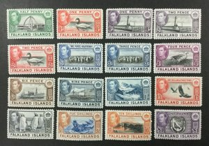 FALKLAND ISLANDS #84-96, 1938-46 set of 16, KGVI, FVF, MH. CV $361.20. (BJS)