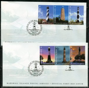 MARSHALL ISLANDS 2008 LIGHTHOUSES SET ON TWO FIRST DAY COVERS