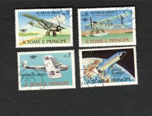 S. Tome E Pricipe SC #530-533 African Historia da Aviacao used stamps