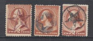 US Sc 210 used. 1883 2c Washington, 3 diff STAR Fancy Cancels