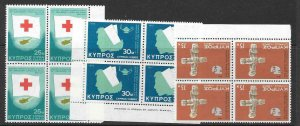 CYPRUS SG446/8 1975 ANNIVERSARIES AND EVENTS IN BLOCKS OF 4 MNH