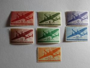SCOTT # C25/ C31 AIR MAIL COMPLETE SET OF SEVEN SINGLES MINT NEVER HINGED !!