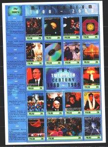 Palau. 2000. Small sheet 1604-20. Millennium, Rossika, Gorbachev, Reagan, Int...