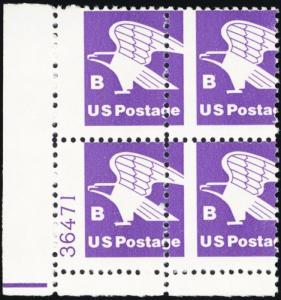 1818, Perforation Shift PL# Capture Error Plate Block B (18¢) Eagle Stuart Katz