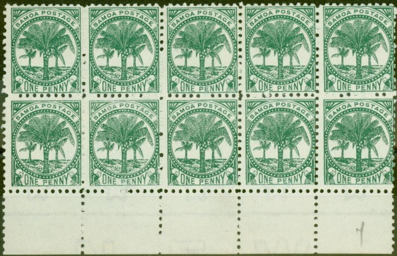 Samoa 1897 1d Bluish Green SG58a P.11 Fine Unused Block of 10