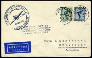 GERMANY BREMEN 9/1/28 VIA LONDON STOCKHOLM OVERNIGHT SERVICE TO SWEDEN