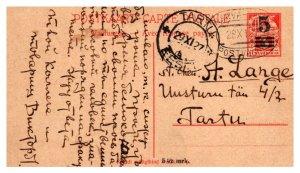 Estonia 3Mk Weaver Message-Half Postal Card Overprinted 5 1927 Narva-Tartu, P...