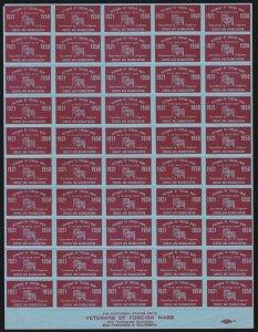 US 1950 Veterans of Foreign Wars Cinderella Mint Stamp Sheet of 50 OG
