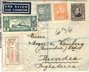 PARAGUAY Cover Air Mail CONDOR ZEPPELIN LUFTHANSA GB Scotland Dundee 1935 SV10