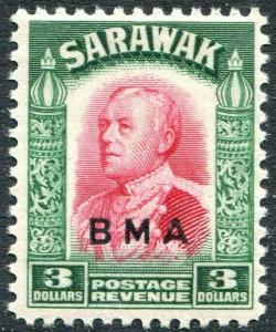 SARAWAK-1945  B.M.A $3 Carmine & Green Sg 142 LIGHTLY MOUNTED MINT V30993