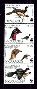 Nicaragua 2067 MNH 1994 Birds strip of 4 (been folded)