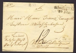 Stamp-less folded letter 10 Febr 1841 JUNGHEINZLAU Rate 12