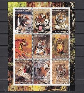 Kyrgyzstan, 2001 Russian Local issue. Tigers sheet of 9.
