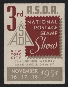 UNITED STATES 1951 ASDA 3rd Philatelic Show Cinderella   - BARNEYS