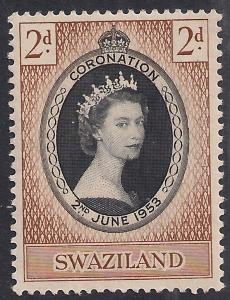 Swaziland 1953 QE2 2d Coronation MM SG 52 ( R1177 )