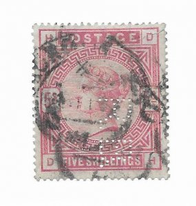 Great Britain #108 Perfin, Small Thin - Stamp - CAT VALUE $250.00