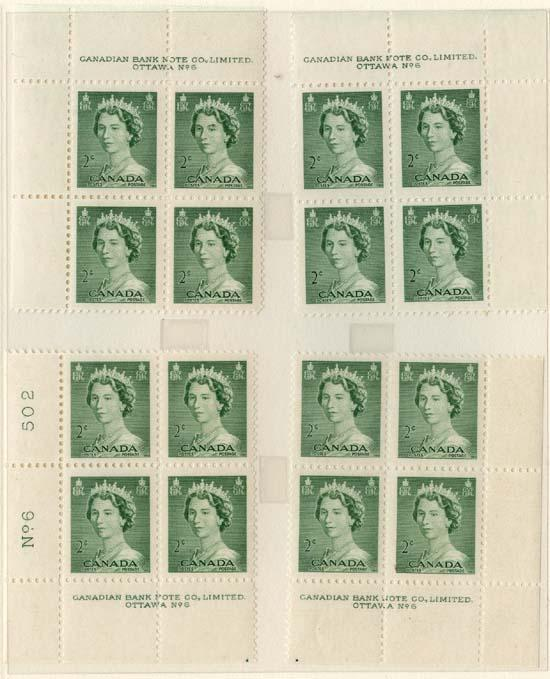 Canada 1953 Karsh #326 Plate Blocks - 20 diff. plate or positions. Mint F-VF NH
