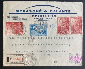 1930 Montevideo Uruguay Advertising Early Airmail Cover To Mainz Germany