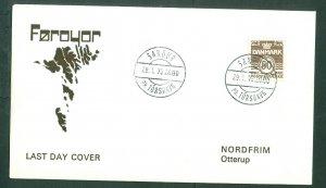 Faroe Islands. Cover 1975 Map. Danish Stamp Last Day. Sc.# 494. Sandur