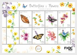 Caribbean Netherlands - Butterflies & Flowers (Saba) - Miniature Sheet
