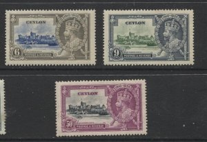 STAMP STATION PERTH Ceylon #260,261,263 KGV Silver Jubilee  MH CV$20.00