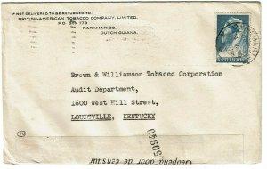 Surinam 1940 Paramaribo cancel on cover to the U.S., censor tape variety