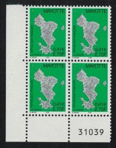 Mayotte Map 2.70Fr 0.41 Euro 1v Bottom Left Corner Block of 4 SG#116