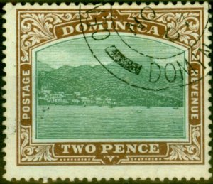 Dominica 1907 2d Green & Brown SG39 Fine Used