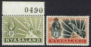 NYASALAND 1934 KGV LEOPARD 9D AND 1/- */**