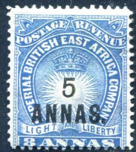 British East Africa Surcharged 5A on 8A Blue Scott 36  1894  MH