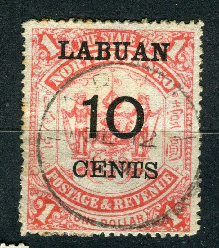 NORTH BORNEO LABUAN; 1895 classic surcharged ' 10 CENTS ' used value Cancel