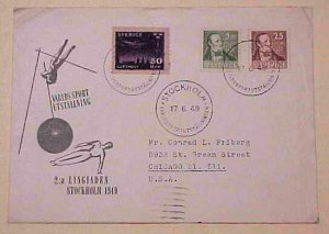 SWEDEN COVER 1949 SPORTS EXPO WITH 50ore STAMP B/S USA