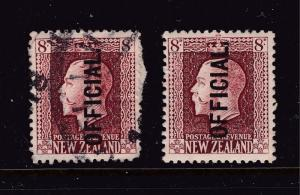 New Zealand x 2 KGV 8d brown Officials M&U