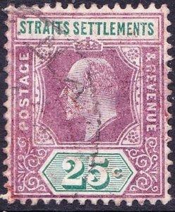 MALAYA STRAITS SETTLEMENTS 1905 KEDV11 25 Cents Dull Purple & Green SG133 Used
