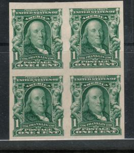 USA #314 Extra Fine Mint Block Bottom Stamps Are Never Hinged Top Stamps Hinged