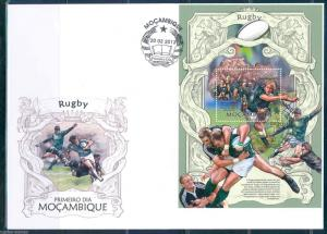 MOZAMBIQUE 2013 RUGBY   SOUVENIR SHEET FIRST DAY COVER
